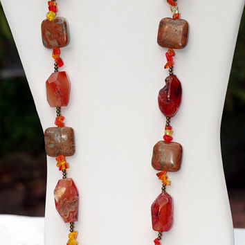 Long Burnt Orange Taupe Necklace/ Bright Chunky Statement Necklace/ Natural Semiprecious Stone Nuggets/ Carnelian Agate Jasper