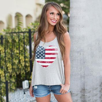 Fashion Love Heart American Flag Sleeveless Big O-neck Tank Tops Plus Size Girls Women Summer Casual Camisole Vest