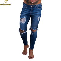New arrive 2018 Men Jeans Stretch Destroyed Ripped Design Fashion Skinny Jeans For Men