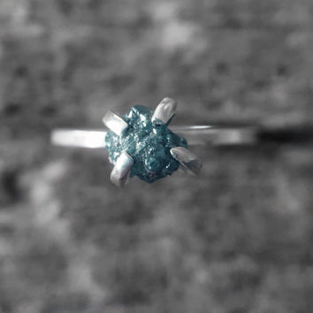 Blue-Gray Conflict-free Rough Diamond Solitaire Ring