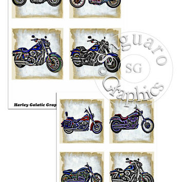 Variety of Harley Motorcycles Galatic Graphic Altered Art - - Coasters Artwork, 3.8 inch Squares, Arts and Craft Projects