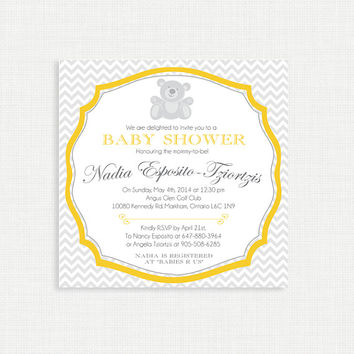 Chevron Bear Baby Shower Invitation, Gender Neutral Baby Shower Invitation, Yellow and Grey Baby Shower Invites