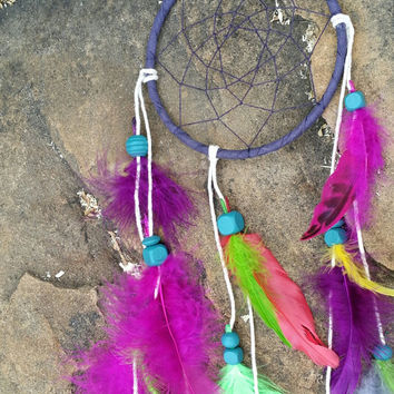 Small Dream Catcher, Handmade 5 Inch Ornament, Navy Feathered Wall Hanging Art, Colorful Traditional Native American Decor