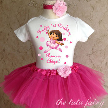 Dora Ballerina Ballet 1 2 1st 2nd Birthday Personalized Custom Name Age Shirt & Pink Tutu Set outfit girl 9 12 18 24 months headband