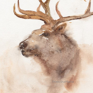 Deer, Animal art, Watercolor painting woodland Fawn print wildlife red brown.