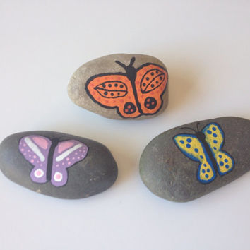 Hand Painted Rocks, Set of 3, Butterflies, original painting