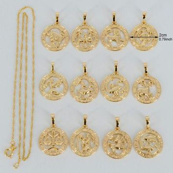 ac DCCKO2Q Anniyo (12pcs/lot)Twelve Constellations Necklaces for Women/Girl Silver/Gold Color Twelve Horoscope Star Sign Jewelry #037704