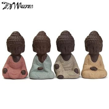 Kiwarm 1PC Monk Figurine Buddha Statue Tathagata India Yoga Mandala Sculptures Ceramic Tea Ceremony Ornaments Gift Home Decor
