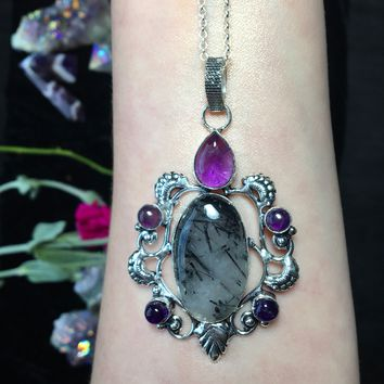 Black Tourmaline and Amethyst Necklace (925 Stamped)