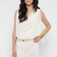 Dress with Embellished Belt in White :: tobi