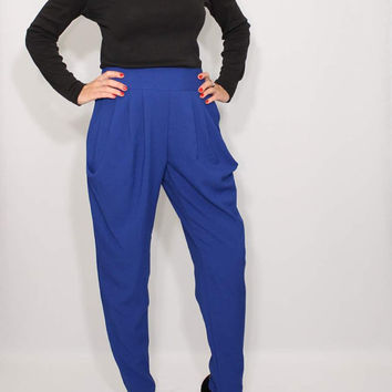 Cobalt blue pants Harem pants Career Pants Office Fashion