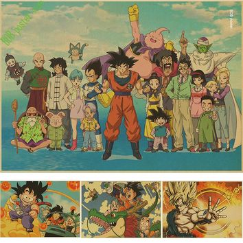 Vintage Classic Cartoon Anime Dragon Ball Poster Bar Kid's Room Home Decor Retro Kraft Paper Wall Sticker