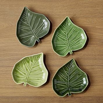 Palm Leaf Appetizer Plates, Set of 4