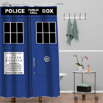 tardis dr who Custom Shower curtain decorative shower curtain size 36x72,48x72,60x72,66x72
