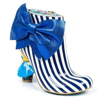 CREYI7E Irregular Choice Alice in Wonderland Collection: Who in the World Am I? Blue/White Heel Boots