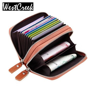 Double Zipper Genuine Leather Women Card Holder Wallet Cowhide Leather Credit Card Holders for Men Card Purses with Coin Pocket