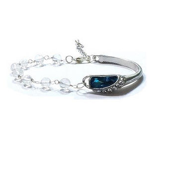 Blue Topaz Crystal Bracelet  , Sterling Silver Bracelet  , Sterling  Silver  Wire Wrapped Quartz Beads