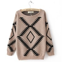 Khaki Vintage Diamond Sweater