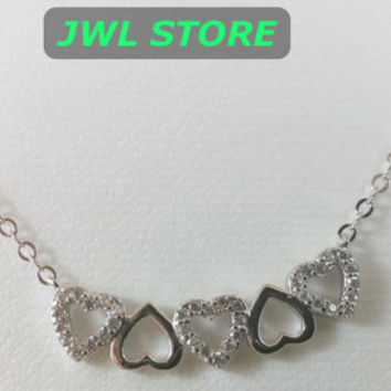 Sterling Silver 925 Choker Necklace,Dainty Choker Necklace five hearts Silver Choker Necklace Girlfriend Gift Moms Gift Birthday Gift