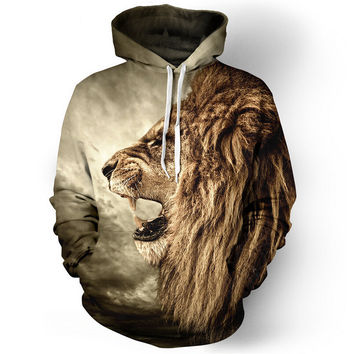 Sweatshirt Fall/Winter Casual animal hoodies 3D lion sweatshirt print lion head hip hop pullover hoodies street wear 21 style