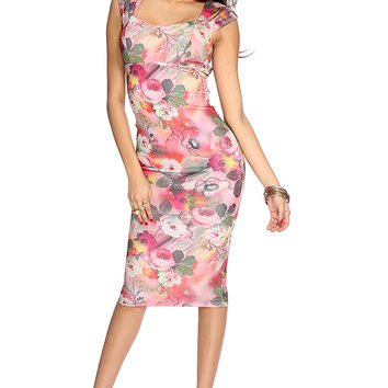 Pink Floral Sleeveless Midi Body Con Dress