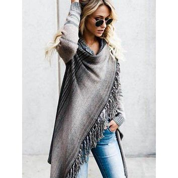 Women's Asymmetric Stripe Loose Knitted Cardigan Sweater (Light/Dark)
