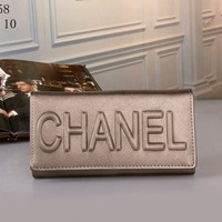 """Chanel"" Simple Solid Color Letter Embossed Multifunction Women Purse Long Section Button Three Fold Wallet"
