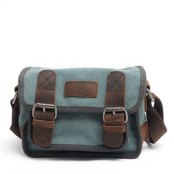 Mens Retro Shoulder Bag Genuine Leather Crossbody Bag Canvas Hobos Bags