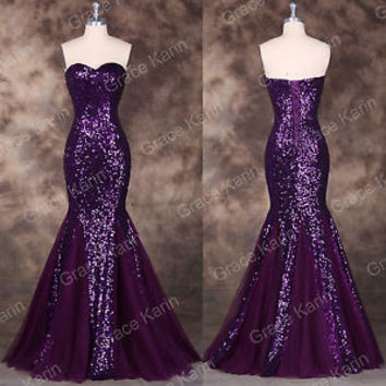 Sequins + mermaid long prom dresses Bridesmaid WEDDING Formal Evening Party Gown