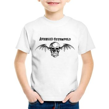 Avenged Sevenfold Skull Printed Children Fashion T-shirts Kids Cool Summer T shirt Boys/Girls Casual Tops Baby Clothes,HKP474