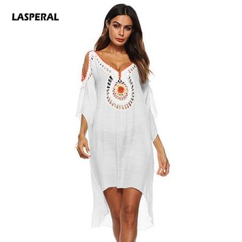 LASPERAL 2018 Sexy Women Enthic Tunic Vintage Beach Overalls Cover-up Holiday Off Shoulder Summer Loose Cover Up Female Dresses