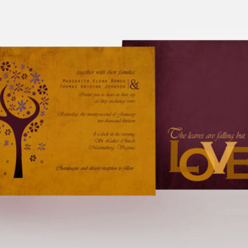 Autumn Leaves Are Falling Wedding Invitation by InvitedInc on Etsy