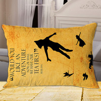 """Peter Pan Quote on rectangle pillow cover 26"""" 30"""" 36"""""""