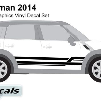 Mini Countryman 2014 Crossing Lines Side Graphics Vinyl Decal Set