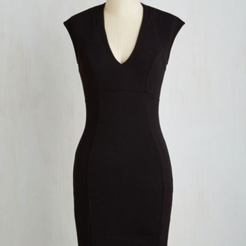 LBD Mid-length Short Sleeves Sheath Raising Glasses Dress in Noir