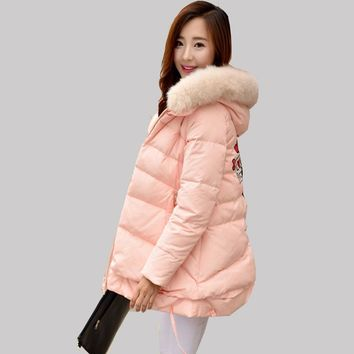 2016 New Women Korean A Word Fox Fur Collar Coat Winter Long Duck Down Jacket Fashion Hooded Cape Print Coat Warm Parkas JA236