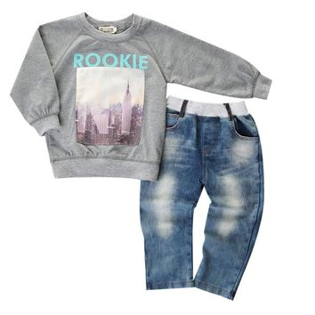 Boys 2 Pcs Rookie Cotton Sweater and Jeans Outfit Set