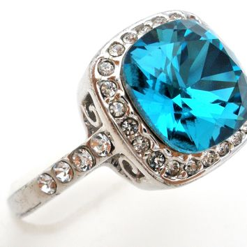 18K Gold Plated Blue CZ Ring Size 10.5