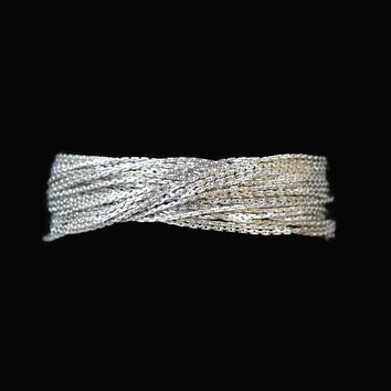 Multi Strand Twisted Chain Bracelet In Silver Tone, Boston Links