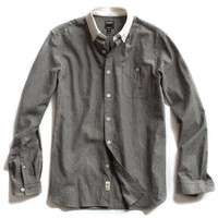 Grey Chambray Shirt With White Collar