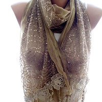 Lace scarf, brown lace scarf,scarves for women, soft scarf, cozy scarf, trendy scarf