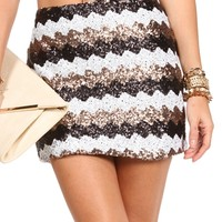 Black/Silver/Gold  Chevron Sequin Skirt