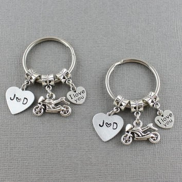 2 Motorcycle Keychains, Motorcycle Couples Keychain Set, Couples Initals and Motorcycle Key Ring Matching Set, Motorcycle Gifts For Couple