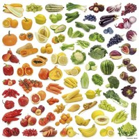 Posters: Cuisine Poster Art Print - Rainbow Collection Of Fruit And Vegetables (16 x 16 inches)