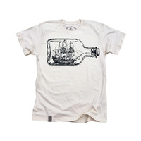 Ship in a Bottle: Organic Fine Jersey Short Sleeve T-Shirt in Unbleached Natural