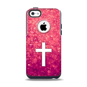The Vector White Cross over Unfocused Pink Glimmer Apple iPhone 5c Otterbox Commuter Case Skin Set