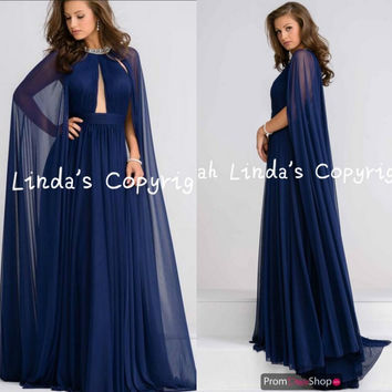 Gorgeous navy blue chiffon high neck prom dress with jackets floor length modest formal prom gowns pleated elegant prom dresses