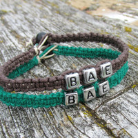 Bracelets for Couples or Best Friends, BAE, Dark Green and Brown Hemp Jewelry