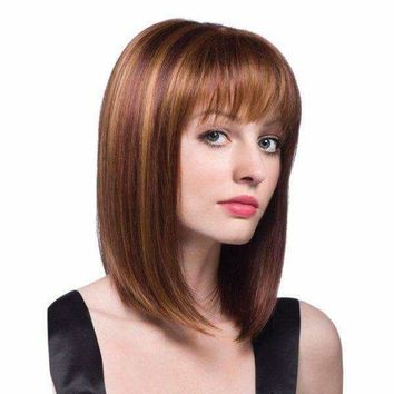 Medium Full Bang Colormix Straight Bob Synthetic Wig - Brown + Golden