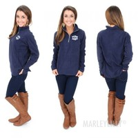 Monogrammed Summer-Weight Microfleece Pullover | Marley Lilly